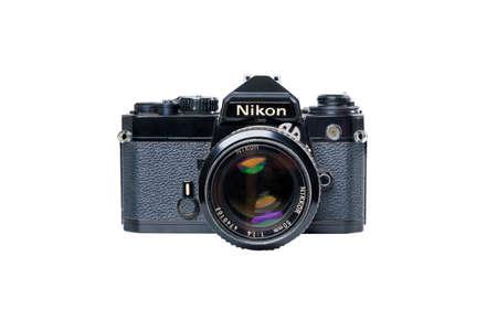 BANGKOK, THAILAND - JUNE 5, 2020 Retro Vintage Classic Nikon FE Film Camera on white background in Bangkok, Thailand on JUNE 5, 2020