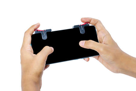 Close Up Gamer's Hand with Metal Trigger for Controller Mobile Gamepad Fire Button on White Background Isolated. POV Shot.