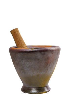 Stone Mortar and Pestle for Cooking Thai Food or Somtam a Famous Thai Food on Isolated White Background.