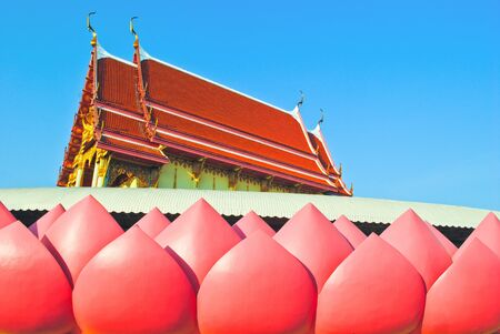 Buddhist temple in lotus at wat muang photo