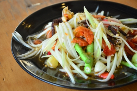 Papaya salad or Somtum in thai photo