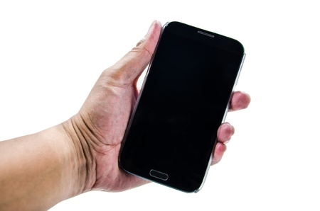man's thumb: hand man hold smatphone mobile Stock Photo