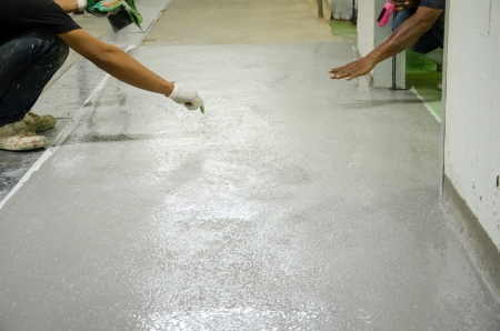 mans work epoxy floor 版權商用圖片