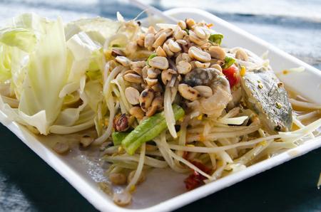 papaya salad with Horse crab or somtum pooma photo