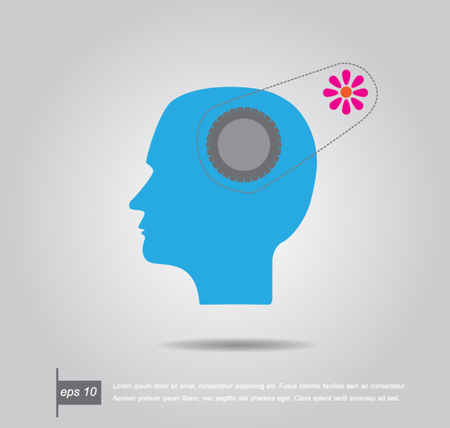 Human head shape with a sprocket gear on a place of brain and flower vector Vector