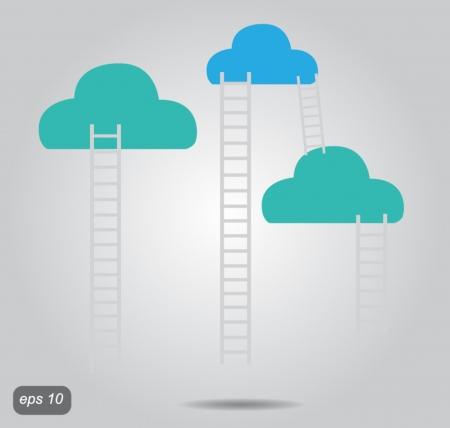 stepladder: cloud and ladder vector