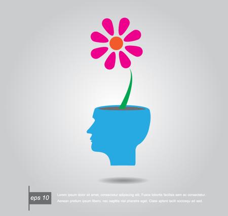 abrir la mente humana con las ideas de flores ilustración vectorial Ilustración de vector