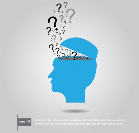 human head open with question marks vector illustration Vector