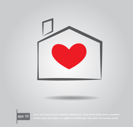 Gentle house with red heart inside vector illustration