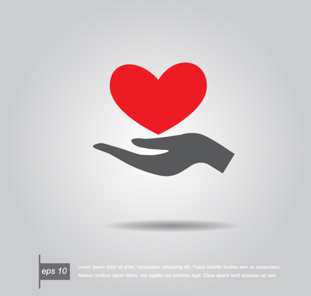 give hand: Red heart on hand, vector icon