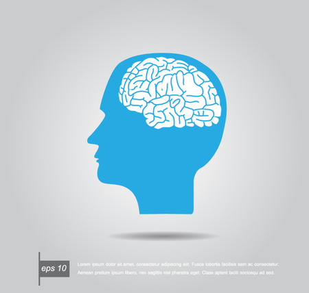 brain illustration: Abstract vector illustration of a human head with brain