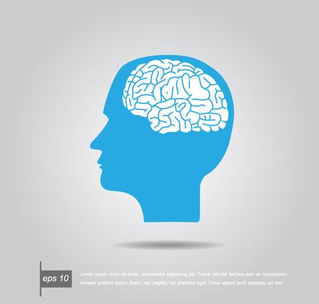 cerebro blanco y negro: Resumen ilustración vectorial de una cabeza humana con el cerebro Vectores