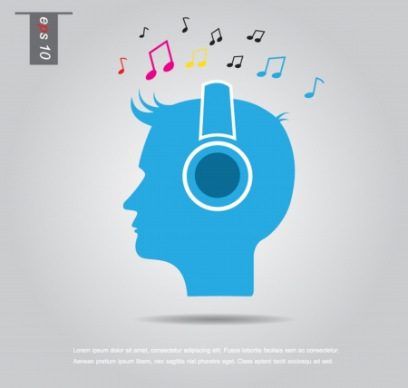 Man listening to music icon vector Vector