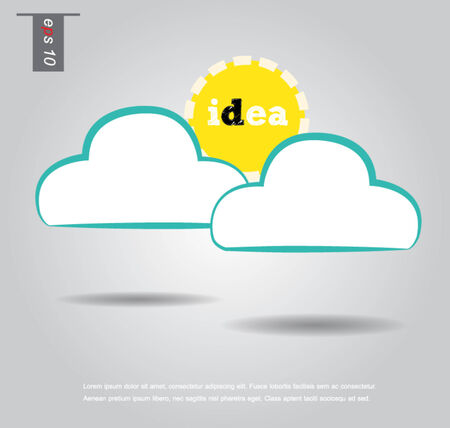 cloud and sun idea vector icon Vector