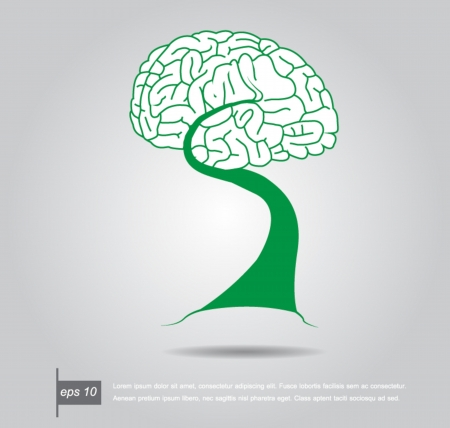 Brain Bonsai tree illustration, tree of knowledge vector icon