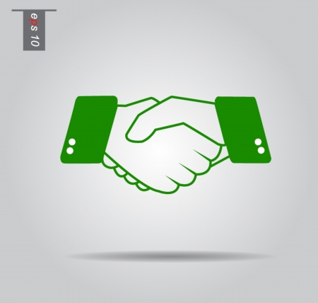 vector icon of hand shake - symbol of trust, partnership & friendship. This unusual illustration can also represent new partnership, business deals, unity and trust, greeting & gestures, etc Çizim