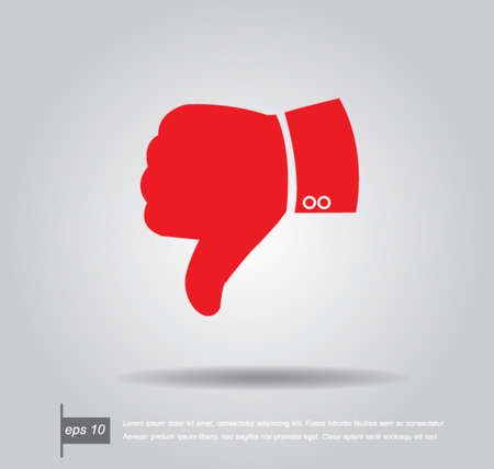 set up: red hand dislike icon vector Illustration