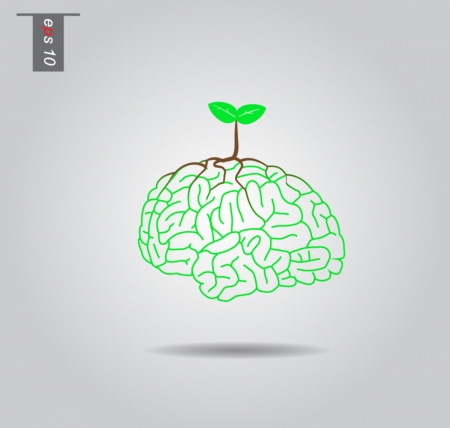 Brain  tree illustration, tree of knowledge vector icon