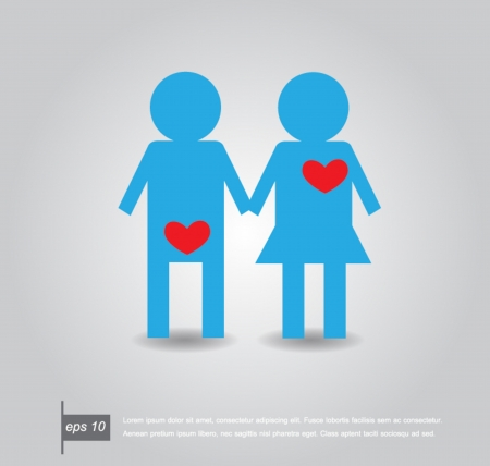 Pair of Lovers with Hearts male think sex and female think love of heart vector icon