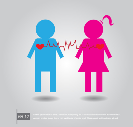 Heartbeat electrocardiograph make male,female and heart icon vector