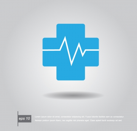 pharmaceuticals: pharmacy cross and Heartbeat electrocardiograph icon vector