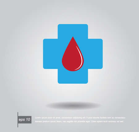 blood stains: Blue diagnostics button Medical and drop blood vector icon Illustration