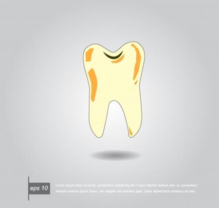 dientes con caries: icono de dientes cariados vector Vectores