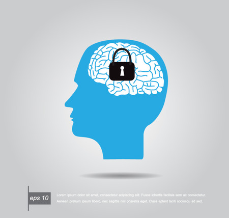 keyhole on the brain vector illustration Vector