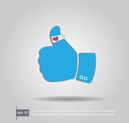 safety first: hand with thumb on bandage  vector icon