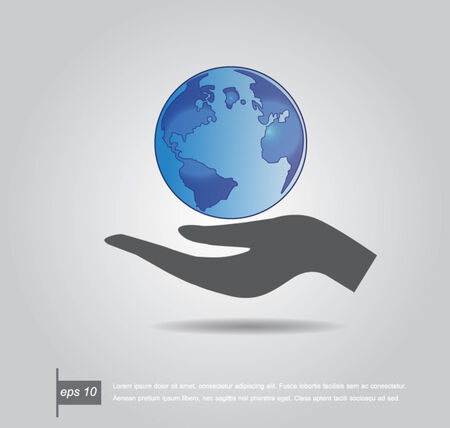 Hand holding the world vector icon Vector
