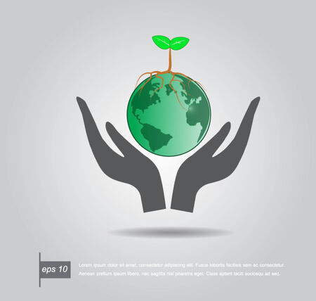 Hand holding a green tree on the world vector icon Vector