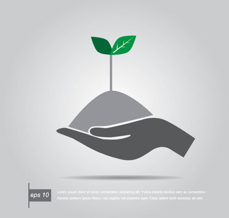 plant with roots: Growth concept tree in hand vector icon