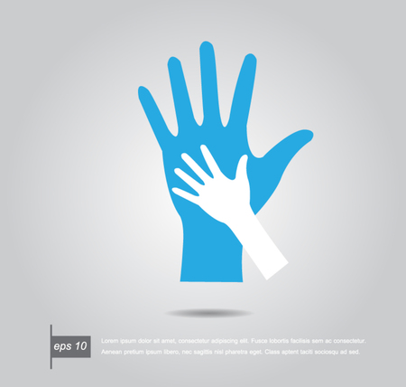 helping up: Helping hands. Vector illustration