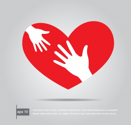 Helping hands in heart Vector illustration