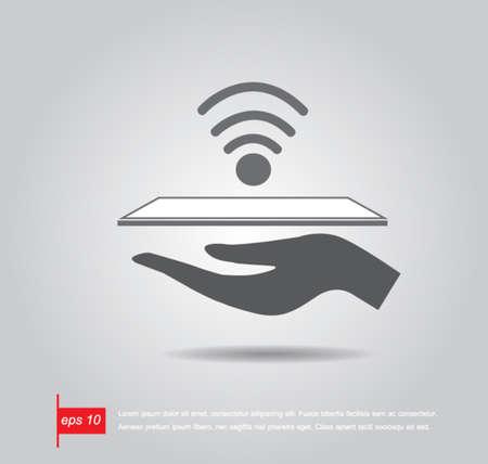 tablet mano tenere la connessione wifi vettore icona
