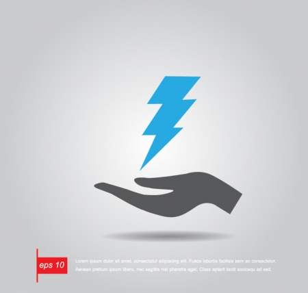 thunderbolt: hand hold thunderbolt vector icon Illustration