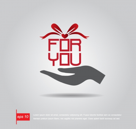hand hold boxgift and text for you vector icon Vector