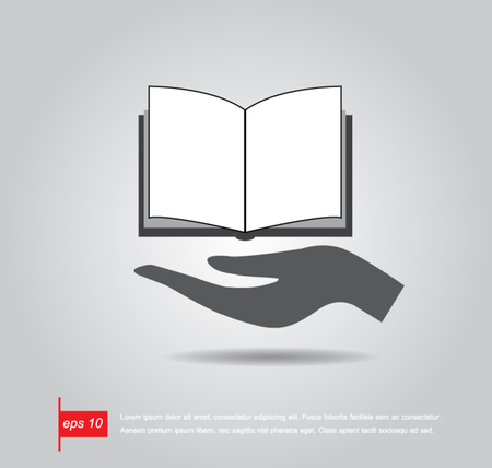 hand hold book vector icon Vector