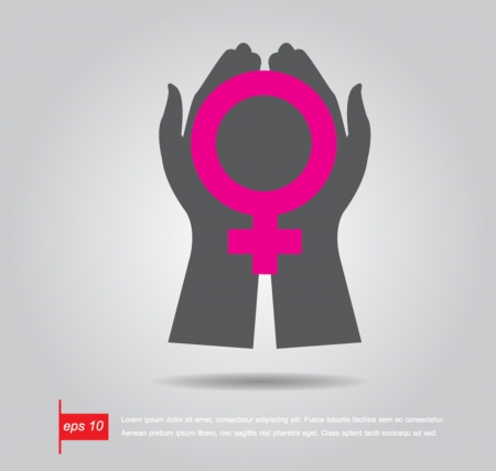 hand hold woman sign icon vector