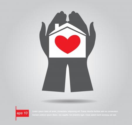 hold hand: mano mantenere e dare casa Gentle con cuore rosso all'interno illustrazione vettoriale