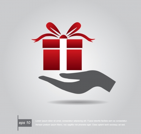 Hand holding out gift box ready for you, icon vector Vector