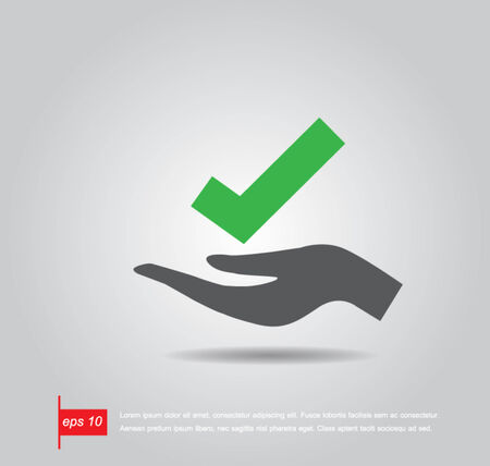 hand hold true sign vector icon