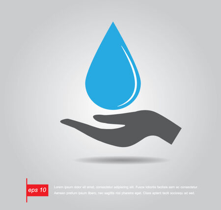 hand hold water drop vector icon