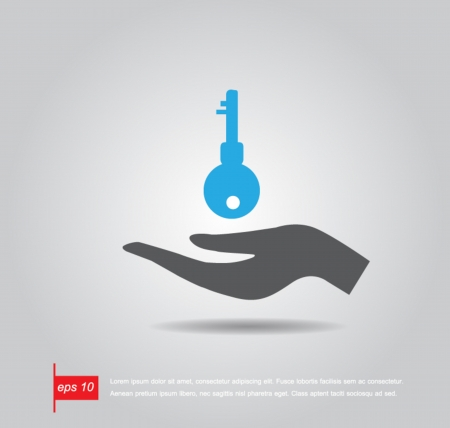 hand hold key vector icon Vector