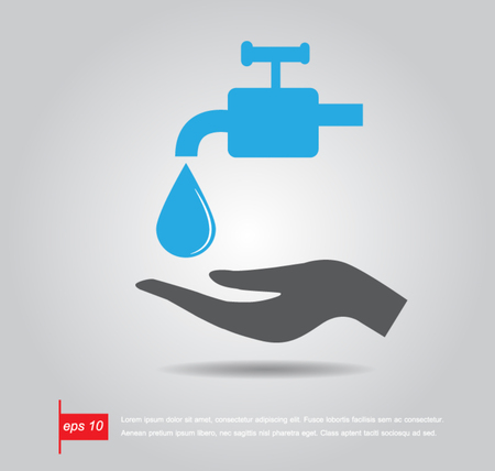 hand hold  Faucets and water drop vector icon
