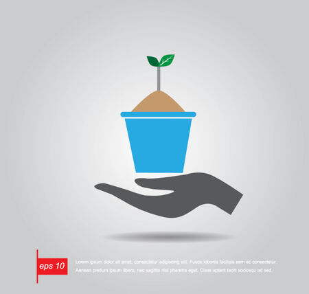 hand holding plant: hand hold  flowerpot and plant vector icon Illustration