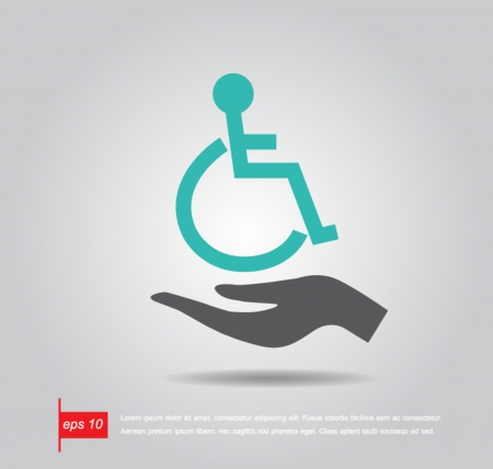 disabled parking sign: hand hold disabled sign vector icon