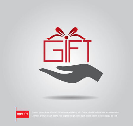 red gift box: hand hold gift like box vector icon Illustration