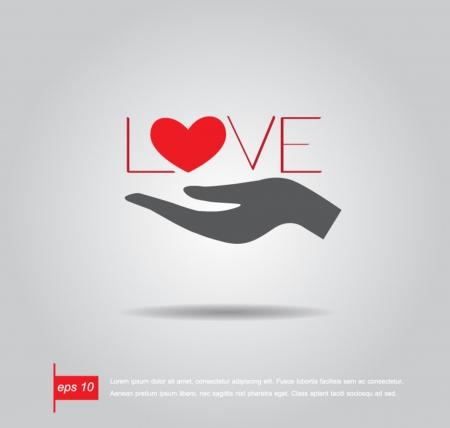 Hand halten Herz und Liebe Text Vektor-Symbol Standard-Bild - 24223378