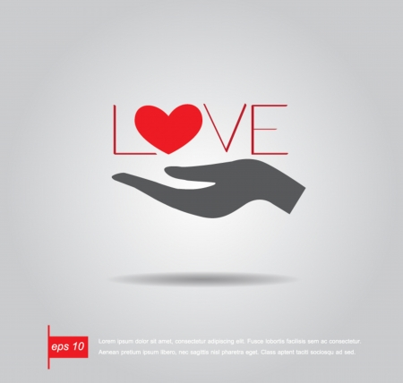 a helping hand: hand hold heart and text love vector icon
